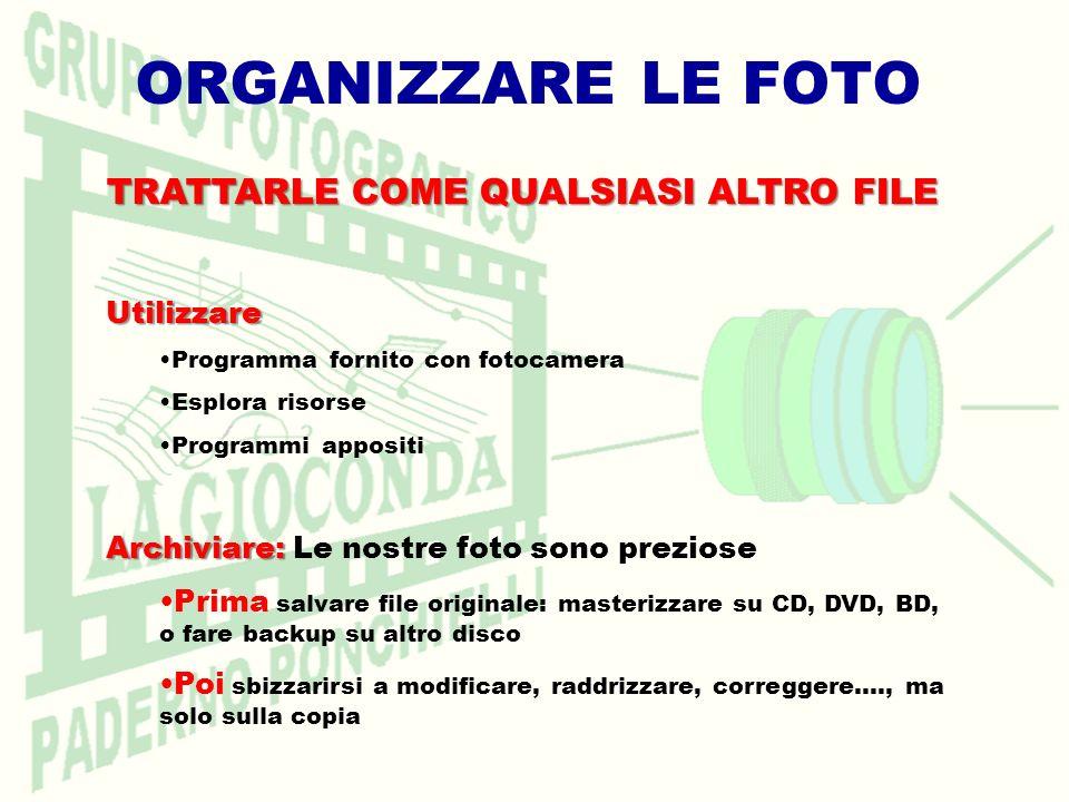 ORGANIZZARE LE FOTO TRATTARLE COME QUALSIASI ALTRO FILE Utilizzare Programma fornito con fotocamera Esplora risorse Programmi appositi Archiviare: Arc