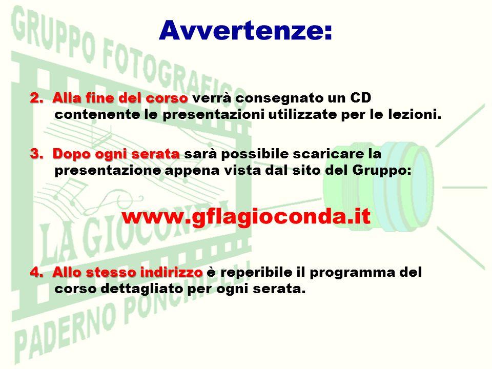 2.Alla fine del corso 2. Alla fine del corso verrà consegnato un CD contenente le presentazioni utilizzate per le lezioni. 3. Dopo ogni serata 3. Dopo