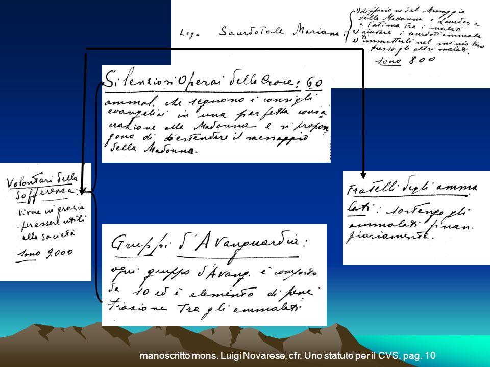 manoscritto mons. Luigi Novarese, cfr. Uno statuto per il CVS, pag. 10