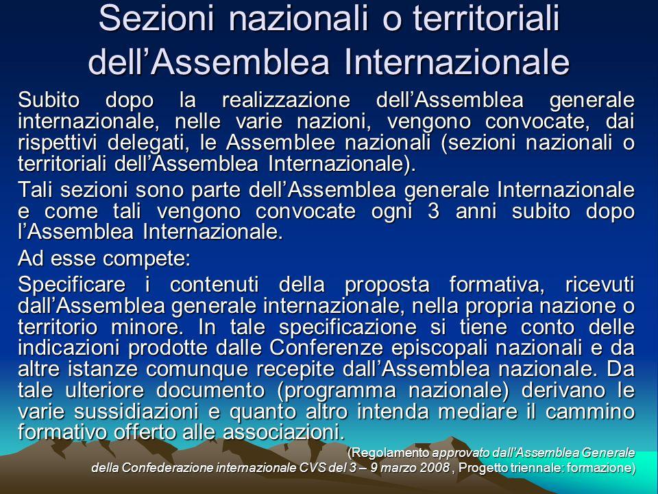 Subito dopo la realizzazione dellAssemblea generale internazionale, nelle varie nazioni, vengono convocate, dai rispettivi delegati, le Assemblee nazionali (sezioni nazionali o territoriali dellAssemblea Internazionale).