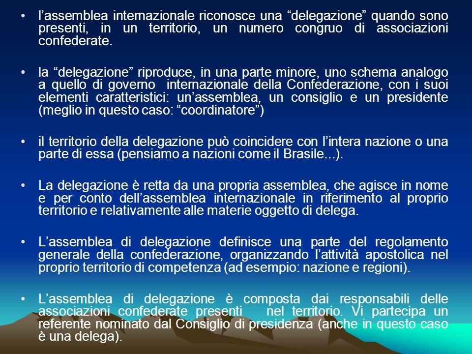 lassemblea internazionale riconosce una delegazione quando sono presenti, in un territorio, un numero congruo di associazioni confederate. la delegazi