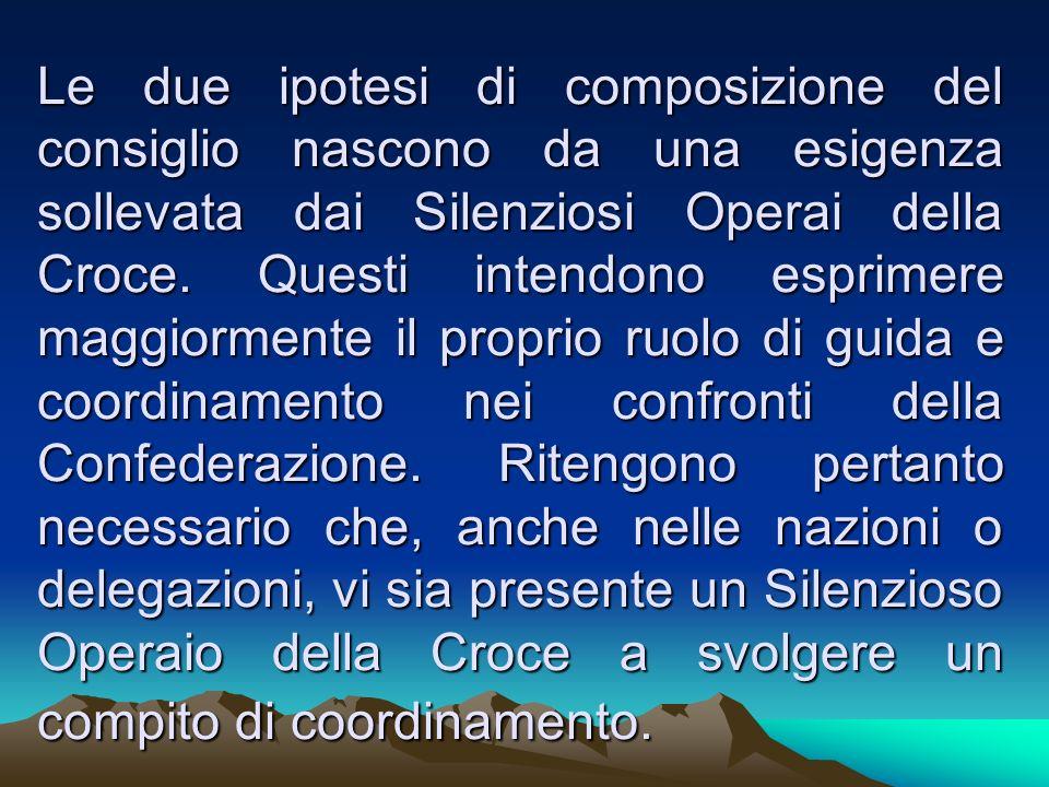 Le due ipotesi di composizione del consiglio nascono da una esigenza sollevata dai Silenziosi Operai della Croce.