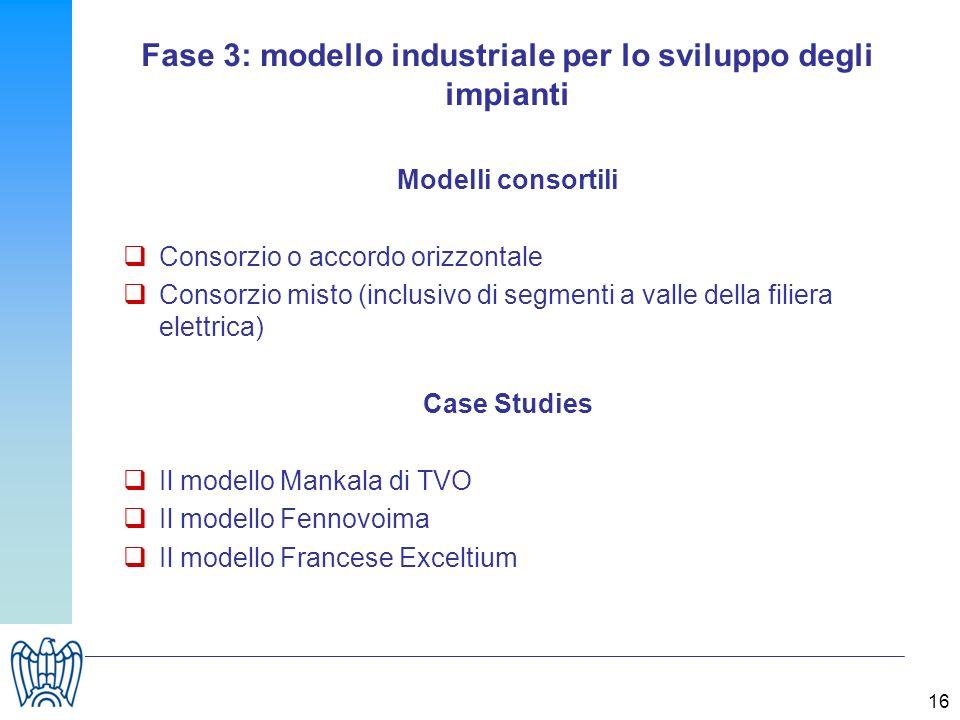 16 Fase 3: modello industriale per lo sviluppo degli impianti Modelli consortili Consorzio o accordo orizzontale Consorzio misto (inclusivo di segmenti a valle della filiera elettrica) Case Studies Il modello Mankala di TVO Il modello Fennovoima Il modello Francese Exceltium