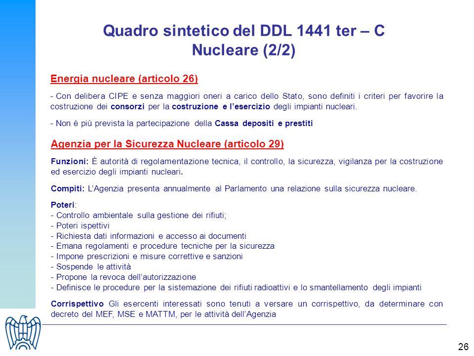 26 Quadro sintetico del DDL 1441 ter – C Nucleare (2/2) Energia nucleare (articolo 26) - Con delibera CIPE e senza maggiori oneri a carico dello Stato