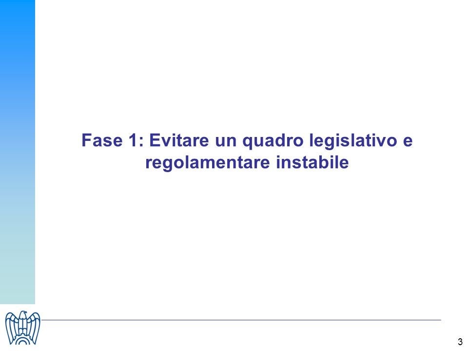3 Fase 1: Evitare un quadro legislativo e regolamentare instabile