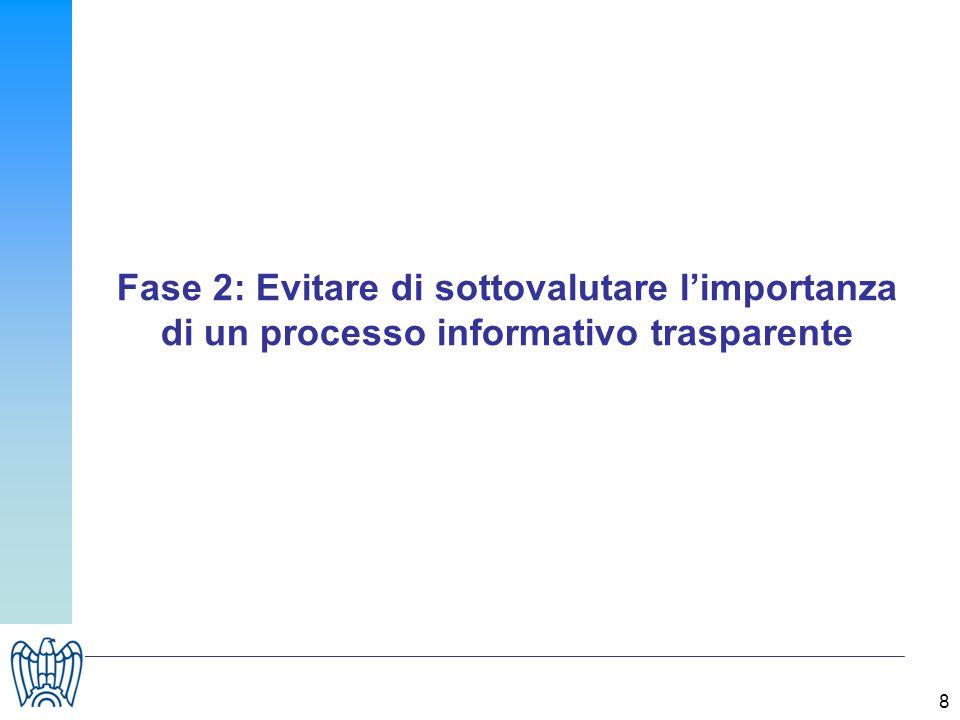 8 Fase 2: Evitare di sottovalutare limportanza di un processo informativo trasparente
