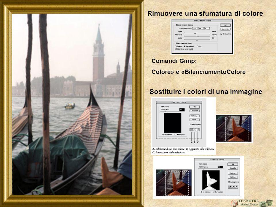 Rimuovere una sfumatura di colore Comandi Gimp: Colore» e «BilanciamentoColore Sostituire i colori di una immagine