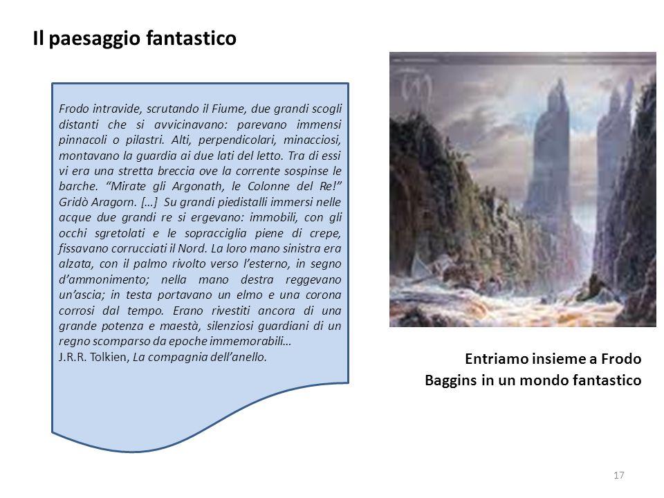 Il paesaggio fantastico Entriamo insieme a Frodo Baggins in un mondo fantastico 17 Frodo intravide, scrutando il Fiume, due grandi scogli distanti che