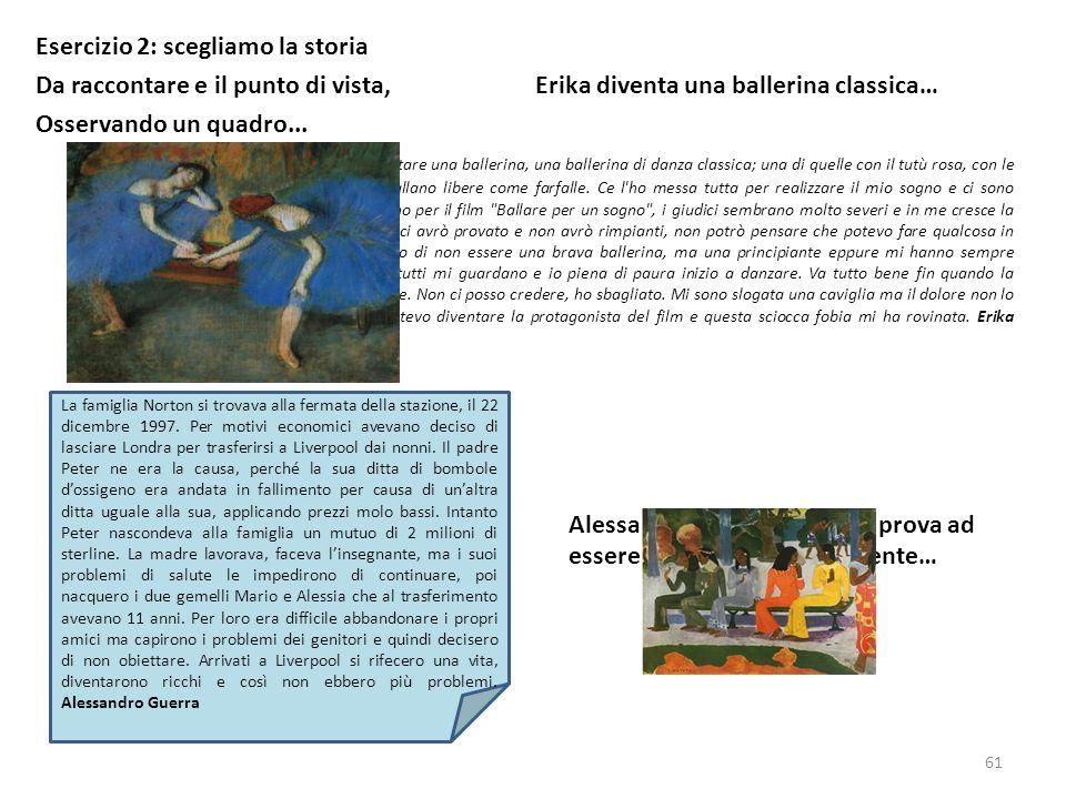 Esercizio 2: scegliamo la storia Da raccontare e il punto di vista, Erika diventa una ballerina classica… Osservando un quadro... Era il mio sogno fin