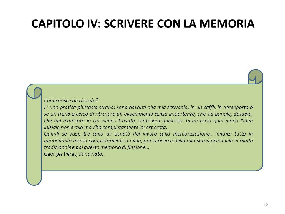 CAPITOLO IV: SCRIVERE CON LA MEMORIA 76 Come nasce un ricordo? E una pratica piuttosto strana: sono davanti alla mia scrivania, in un caffè, in aereop