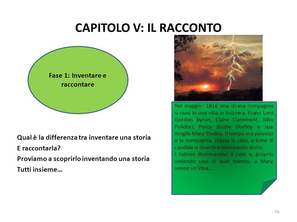 CAPITOLO V: IL RACCONTO Qual è la differenza tra inventare una storia E raccontarla? Proviamo a scoprirlo inventando una storia Tutti insieme… 79 Fase