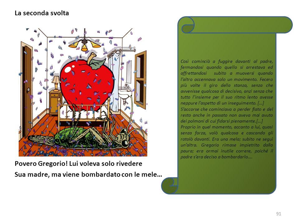 La seconda svolta Povero Gregorio! Lui voleva solo rivedere Sua madre, ma viene bombardato con le mele… 91 Così cominciò a fuggire davanti al padre, f