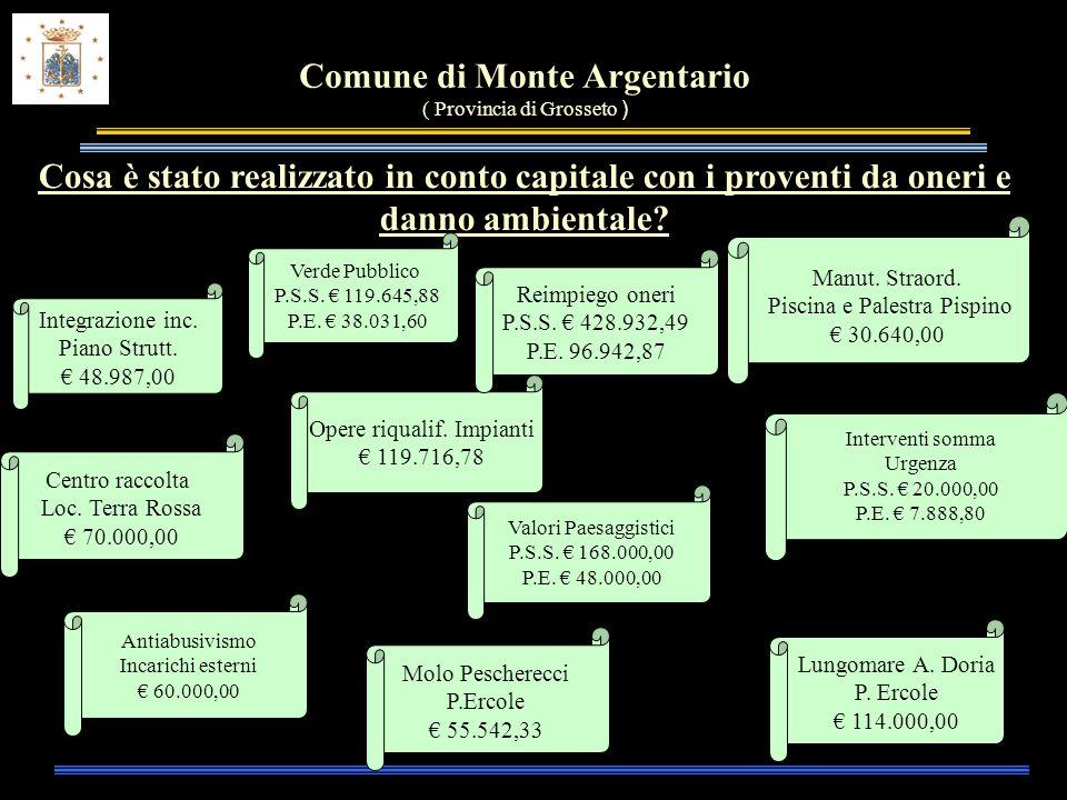 Comune di Monte Argentario ( Provincia di Grosseto ) Cosa è stato realizzato in conto capitale con i proventi da oneri e danno ambientale.