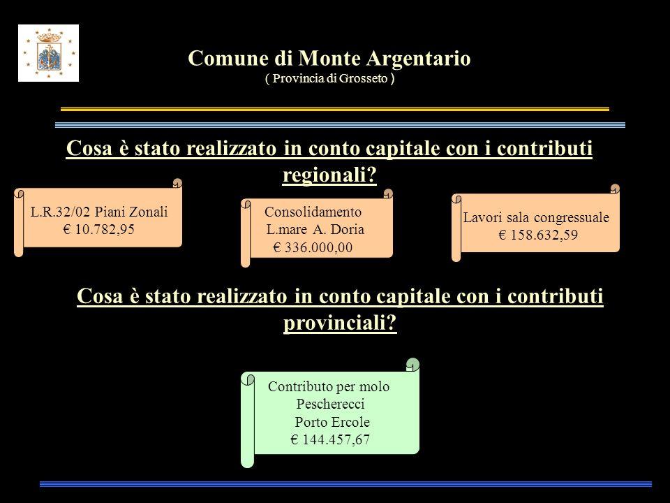 Comune di Monte Argentario ( Provincia di Grosseto ) Cosa è stato realizzato in conto capitale con i contributi regionali.