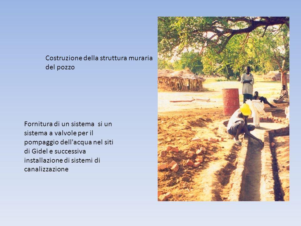 Costruzione della struttura muraria del pozzo Fornitura di un sistema si un sistema a valvole per il pompaggio dell acqua nel siti di Gidel e successiva installazione di sistemi di canalizzazione