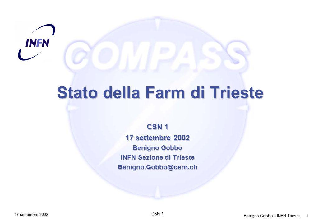 Benigno Gobbo – INFN Trieste 1 CSN 1 17 settembre 2002 Stato della Farm di Trieste CSN 1 17 settembre 2002 Benigno Gobbo INFN Sezione di Trieste Benigno.Gobbo@cern.ch