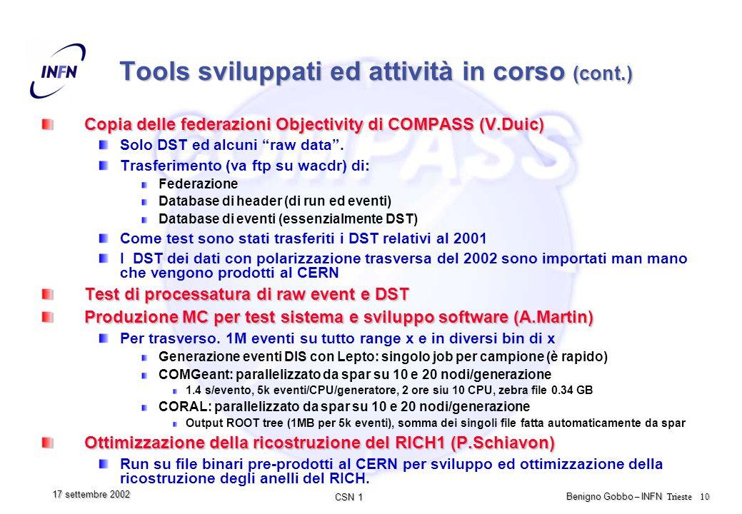 CSN 1 Benigno Gobbo – INFN Trieste 10 17 settembre 2002 Tools sviluppati ed attività in corso (cont.) Copia delle federazioni Objectivity di COMPASS (V.Duic) Solo DST ed alcuni raw data.