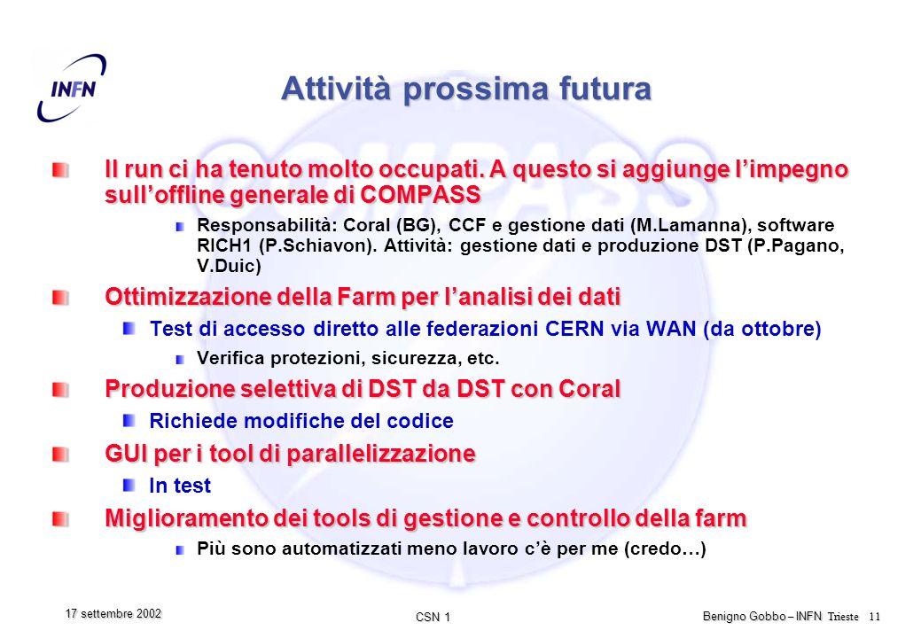 CSN 1 Benigno Gobbo – INFN Trieste 11 17 settembre 2002 Attività prossima futura Il run ci ha tenuto molto occupati.