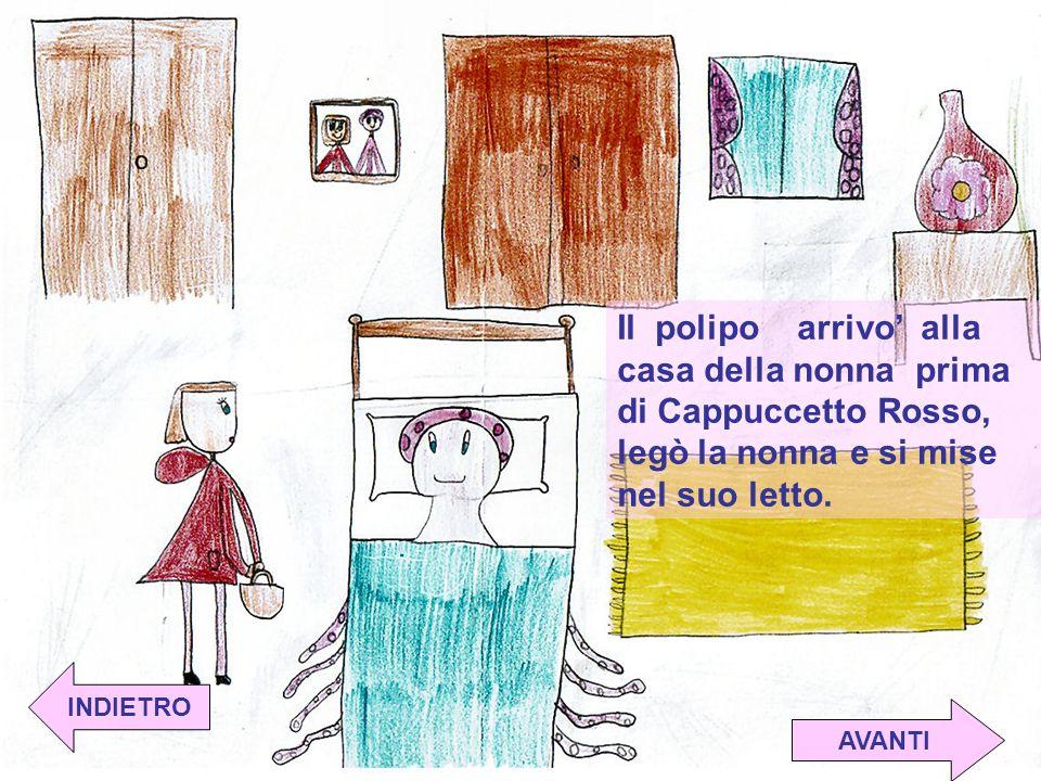 Il polipo arrivo alla casa della nonna prima di Cappuccetto Rosso, legò la nonna e si mise nel suo letto.