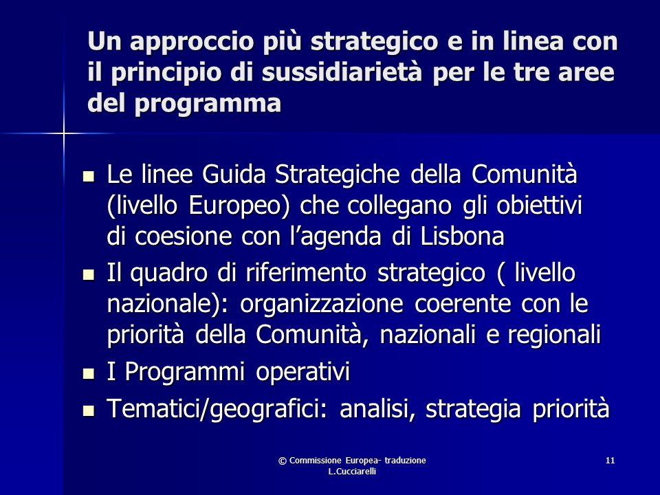 © Commissione Europea- traduzione L.Cucciarelli 11 Un approccio più strategico e in linea con il principio di sussidiarietà per le tre aree del programma Le linee Guida Strategiche della Comunità (livello Europeo) che collegano gli obiettivi di coesione con lagenda di Lisbona Le linee Guida Strategiche della Comunità (livello Europeo) che collegano gli obiettivi di coesione con lagenda di Lisbona Il quadro di riferimento strategico ( livello nazionale): organizzazione coerente con le priorità della Comunità, nazionali e regionali Il quadro di riferimento strategico ( livello nazionale): organizzazione coerente con le priorità della Comunità, nazionali e regionali I Programmi operativi I Programmi operativi Tematici/geografici: analisi, strategia priorità Tematici/geografici: analisi, strategia priorità