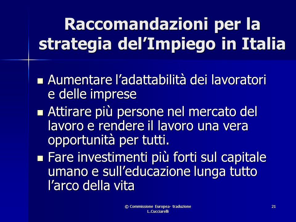 © Commissione Europea- traduzione L.Cucciarelli 21 Raccomandazioni per la strategia delImpiego in Italia Aumentare ladattabilità dei lavoratori e delle imprese Aumentare ladattabilità dei lavoratori e delle imprese Attirare più persone nel mercato del lavoro e rendere il lavoro una vera opportunità per tutti.