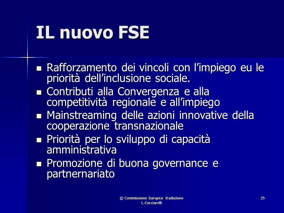 © Commissione Europea- traduzione L.Cucciarelli 25 IL nuovo FSE Rafforzamento dei vincoli con limpiego eu le priorità dellinclusione sociale.
