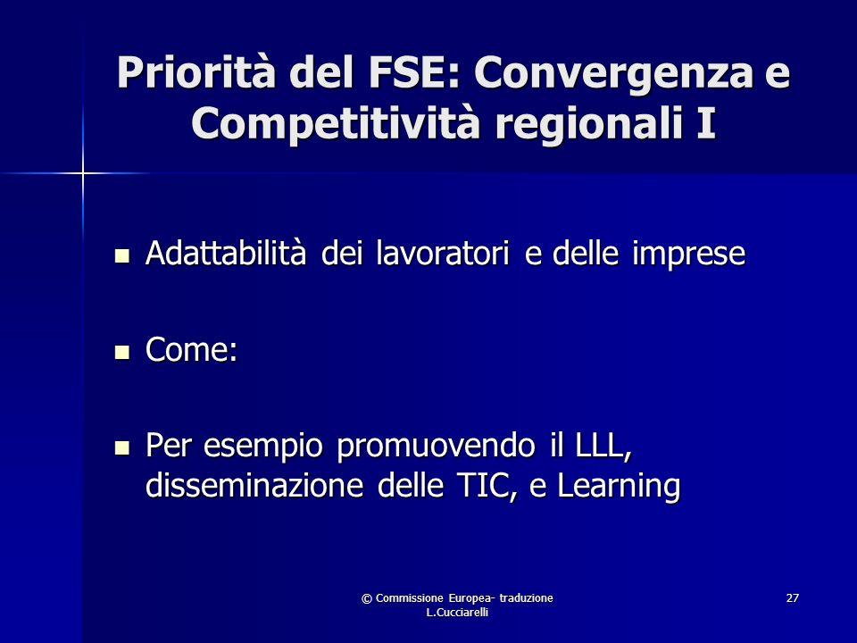 © Commissione Europea- traduzione L.Cucciarelli 27 Priorità del FSE: Convergenza e Competitività regionali I Adattabilità dei lavoratori e delle imprese Adattabilità dei lavoratori e delle imprese Come: Come: Per esempio promuovendo il LLL, disseminazione delle TIC, e Learning Per esempio promuovendo il LLL, disseminazione delle TIC, e Learning