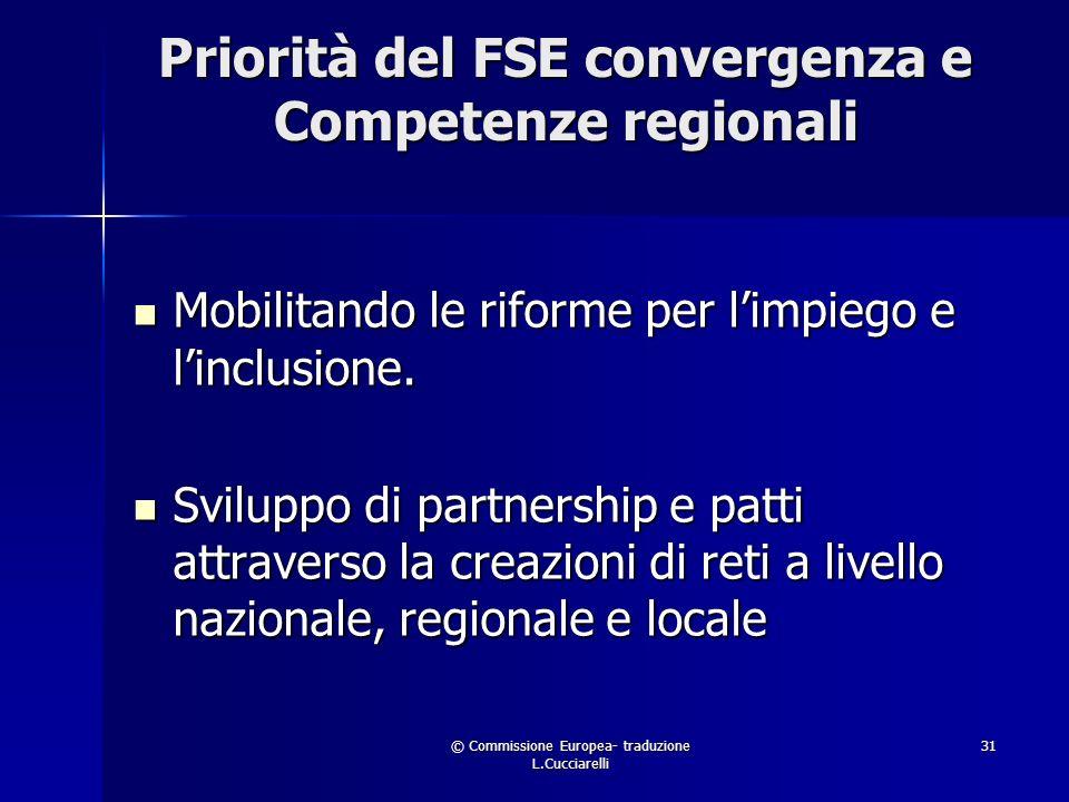 © Commissione Europea- traduzione L.Cucciarelli 31 Priorità del FSE convergenza e Competenze regionali Mobilitando le riforme per limpiego e linclusione.