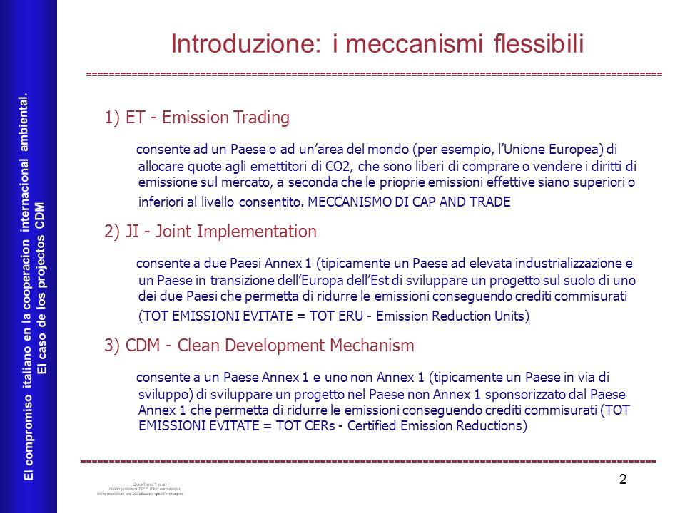 2 Introduzione: i meccanismi flessibili El compromiso italiano en la cooperacion internacional ambiental. El caso de los projectos CDM 1) ET - Emissio
