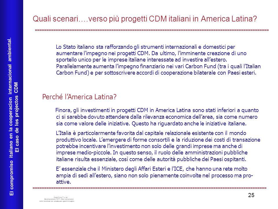 25 Quali scenari….verso più progetti CDM italiani in America Latina? El compromiso italiano en la cooperacion internacional ambiental. El caso de los