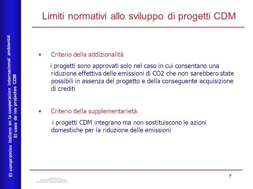 7 Limiti normativi allo sviluppo di progetti CDM El compromiso italiano en la cooperacion internacional ambiental. El caso de los projectos CDM Criter