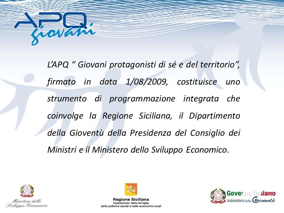 LAPQ Giovani protagonisti di sé e del territorio, firmato in data 1/08/2009, costituisce uno strumento di programmazione integrata che coinvolge la Regione Siciliana, il Dipartimento della Gioventù della Presidenza del Consiglio dei Ministri e il Ministero dello Sviluppo Economico.
