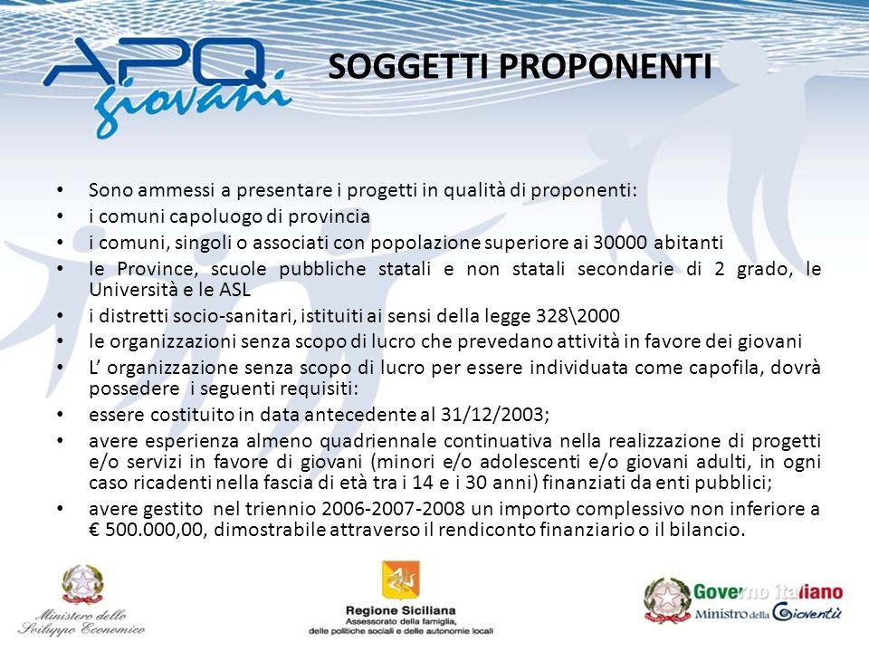 SOGGETTI PROPONENTI Sono ammessi a presentare i progetti in qualità di proponenti: i comuni capoluogo di provincia i comuni, singoli o associati con p