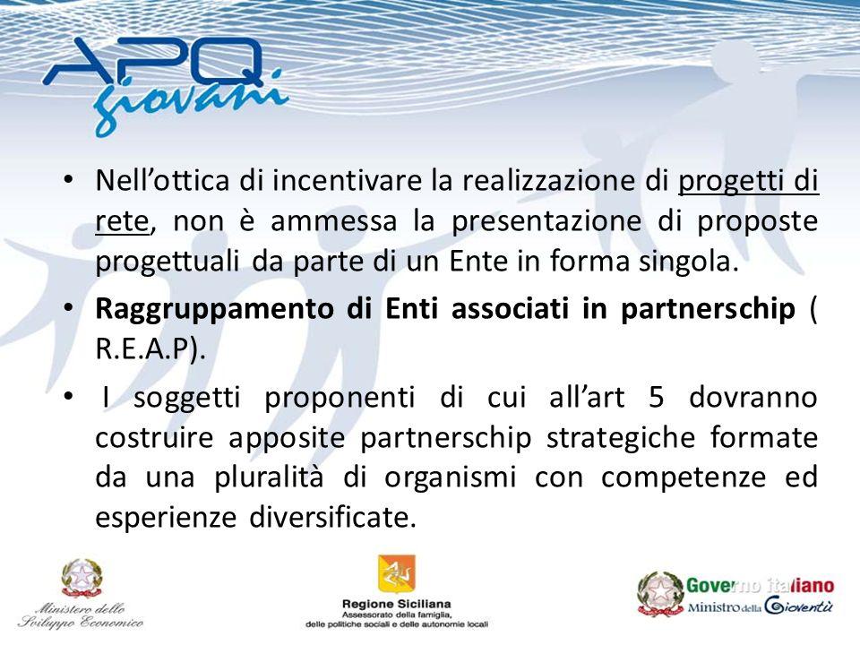 Nellottica di incentivare la realizzazione di progetti di rete, non è ammessa la presentazione di proposte progettuali da parte di un Ente in forma si