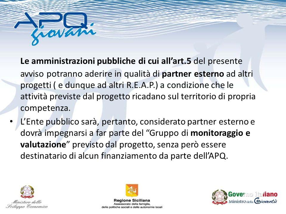 Le amministrazioni pubbliche di cui allart.5 del presente avviso potranno aderire in qualità di partner esterno ad altri progetti ( e dunque ad altri