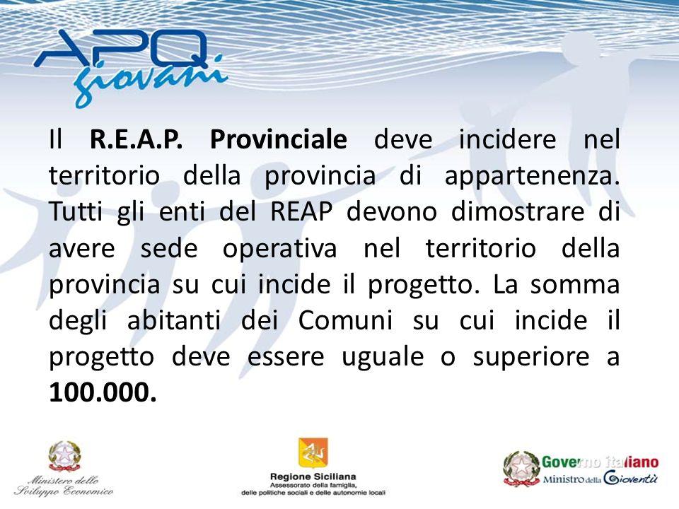 Il R.E.A.P. Provinciale deve incidere nel territorio della provincia di appartenenza. Tutti gli enti del REAP devono dimostrare di avere sede operativ