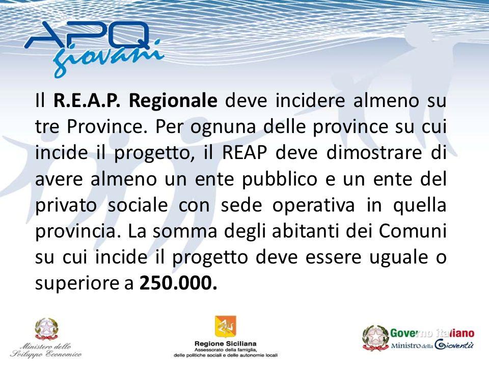 Il R.E.A.P. Regionale deve incidere almeno su tre Province. Per ognuna delle province su cui incide il progetto, il REAP deve dimostrare di avere alme