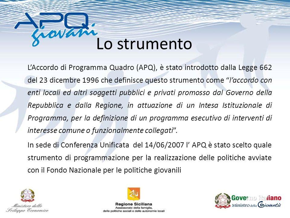 Lo strumento LAccordo di Programma Quadro (APQ), è stato introdotto dalla Legge 662 del 23 dicembre 1996 che definisce questo strumento come laccordo