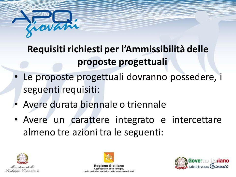 Requisiti richiesti per lAmmissibilità delle proposte progettuali Le proposte progettuali dovranno possedere, i seguenti requisiti: Avere durata bienn
