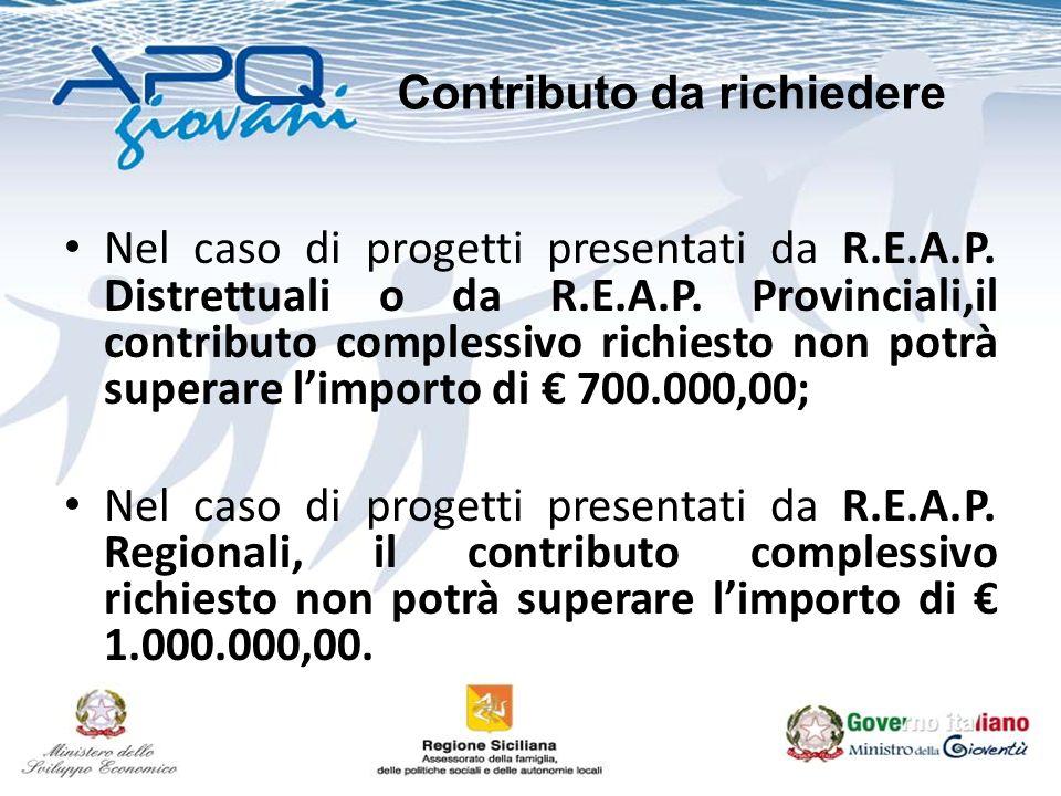 Nel caso di progetti presentati da R.E.A.P. Distrettuali o da R.E.A.P. Provinciali,il contributo complessivo richiesto non potrà superare limporto di