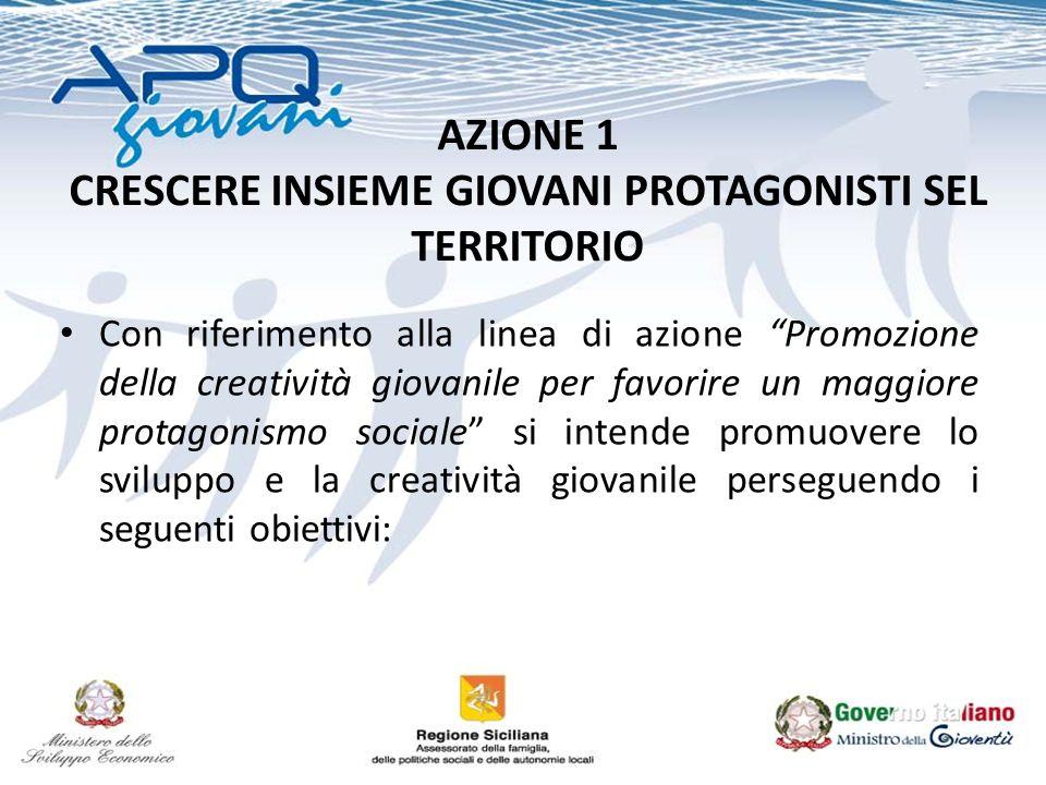 AZIONE 1 CRESCERE INSIEME GIOVANI PROTAGONISTI SEL TERRITORIO Con riferimento alla linea di azione Promozione della creatività giovanile per favorire