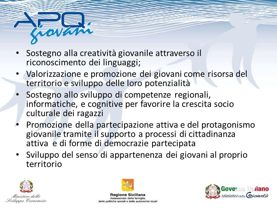 Sostegno alla creatività giovanile attraverso il riconoscimento dei linguaggi; Valorizzazione e promozione dei giovani come risorsa del territorio e s