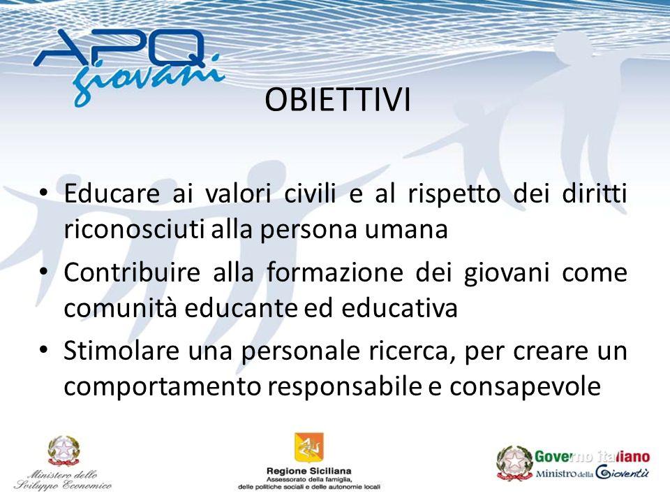 OBIETTIVI Educare ai valori civili e al rispetto dei diritti riconosciuti alla persona umana Contribuire alla formazione dei giovani come comunità educante ed educativa Stimolare una personale ricerca, per creare un comportamento responsabile e consapevole