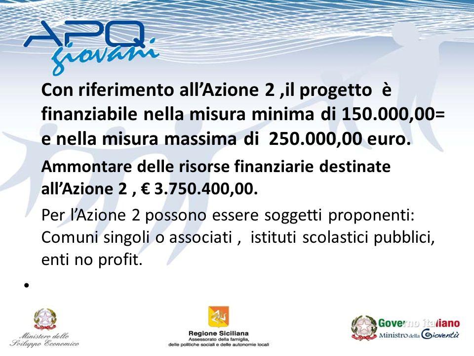 Con riferimento allAzione 2,il progetto è finanziabile nella misura minima di 150.000,00= e nella misura massima di 250.000,00 euro. Ammontare delle r