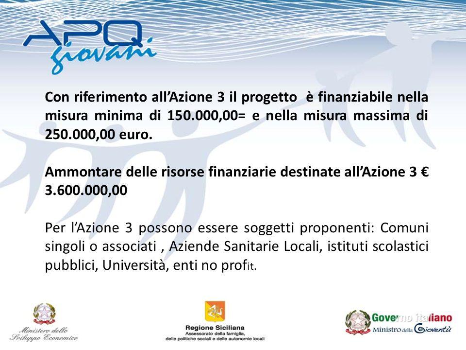 Con riferimento allAzione 3 il progetto è finanziabile nella misura minima di 150.000,00= e nella misura massima di 250.000,00 euro. Ammontare delle r