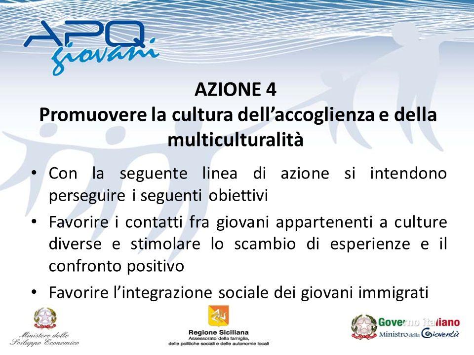 AZIONE 4 Promuovere la cultura dellaccoglienza e della multiculturalità Con la seguente linea di azione si intendono perseguire i seguenti obiettivi F