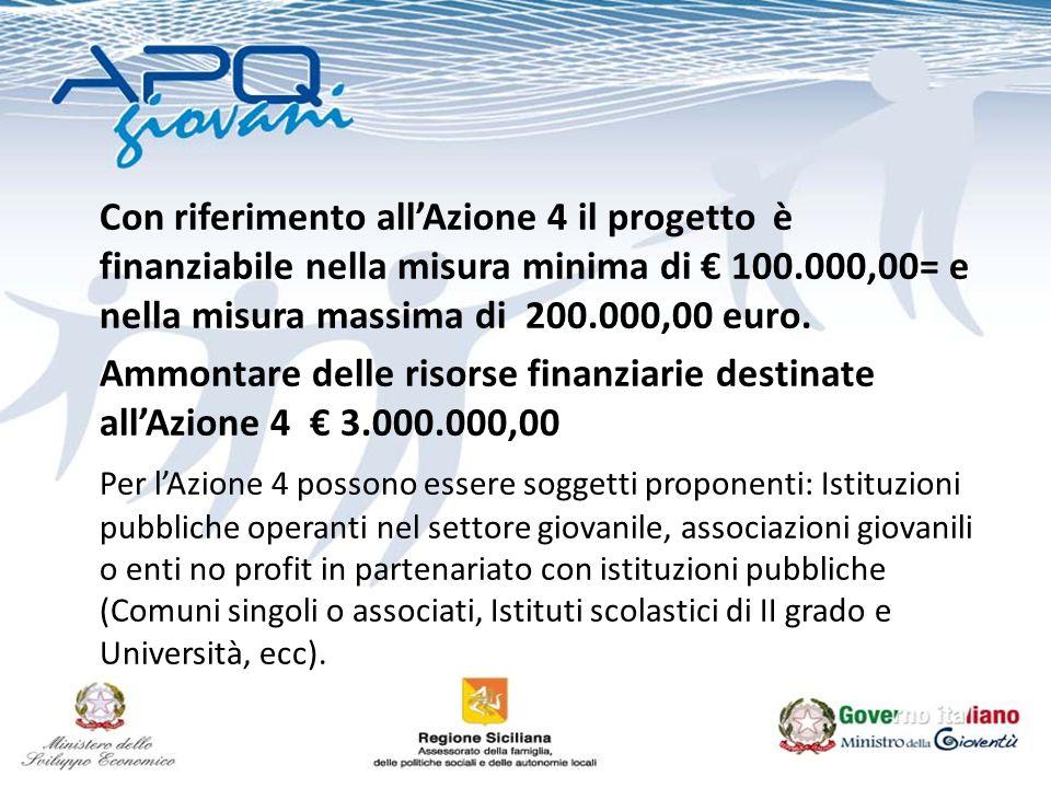 Con riferimento allAzione 4 il progetto è finanziabile nella misura minima di 100.000,00= e nella misura massima di 200.000,00 euro.