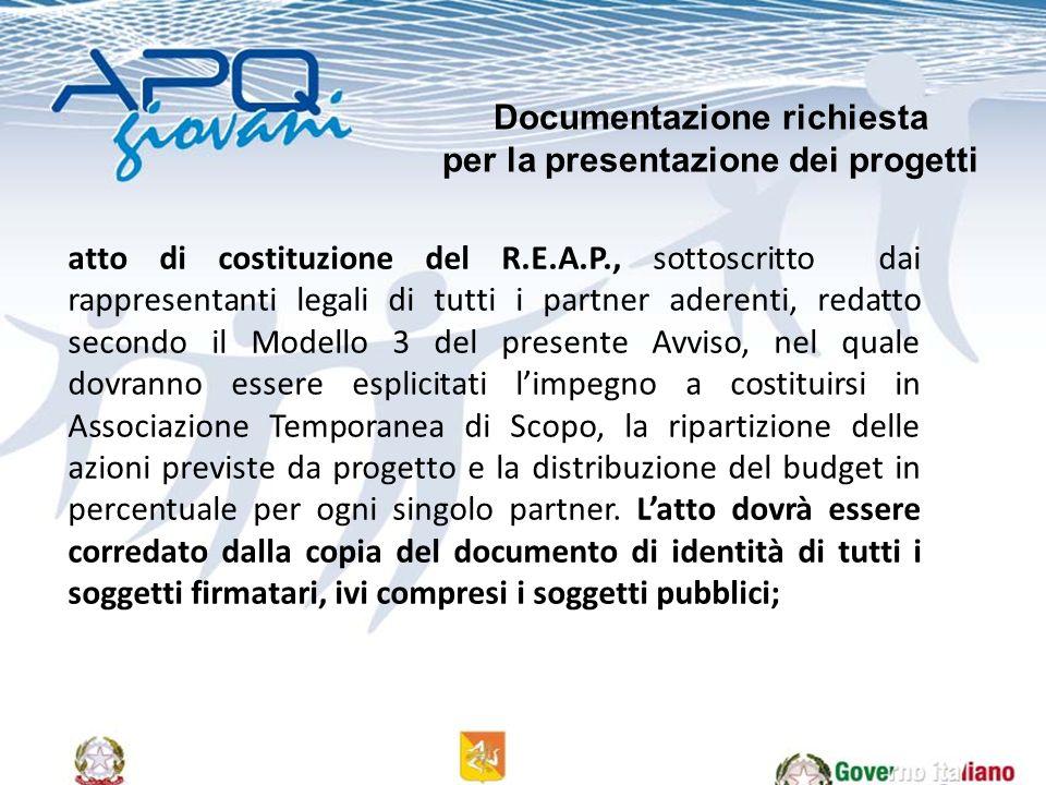 atto di costituzione del R.E.A.P., sottoscritto dai rappresentanti legali di tutti i partner aderenti, redatto secondo il Modello 3 del presente Avvis