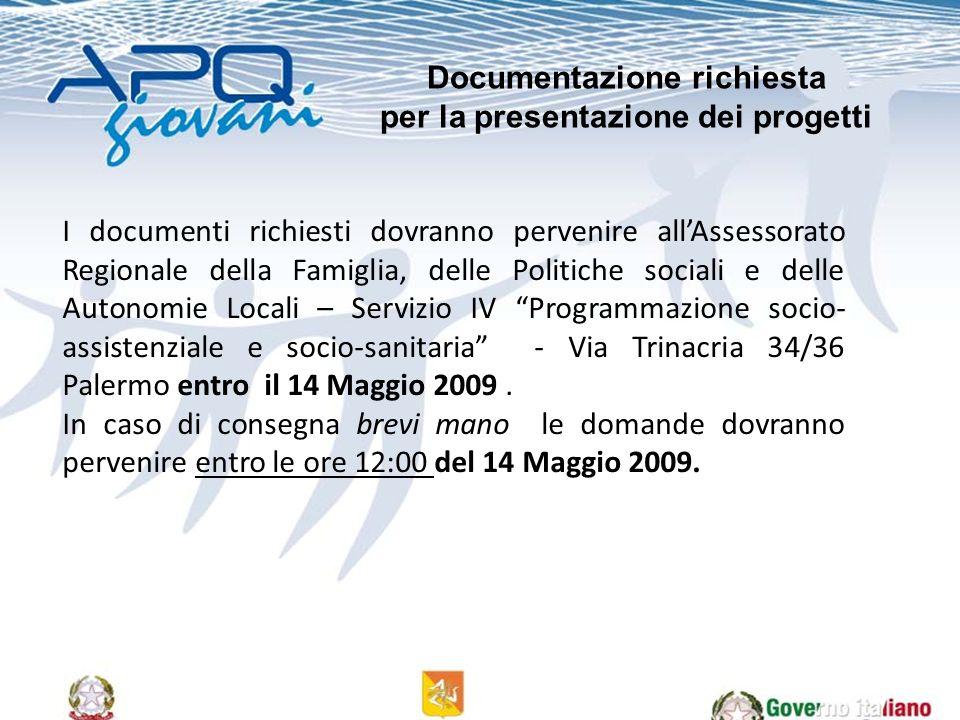 I documenti richiesti dovranno pervenire allAssessorato Regionale della Famiglia, delle Politiche sociali e delle Autonomie Locali – Servizio IV Programmazione socio- assistenziale e socio-sanitaria - Via Trinacria 34/36 Palermo entro il 14 Maggio 2009.