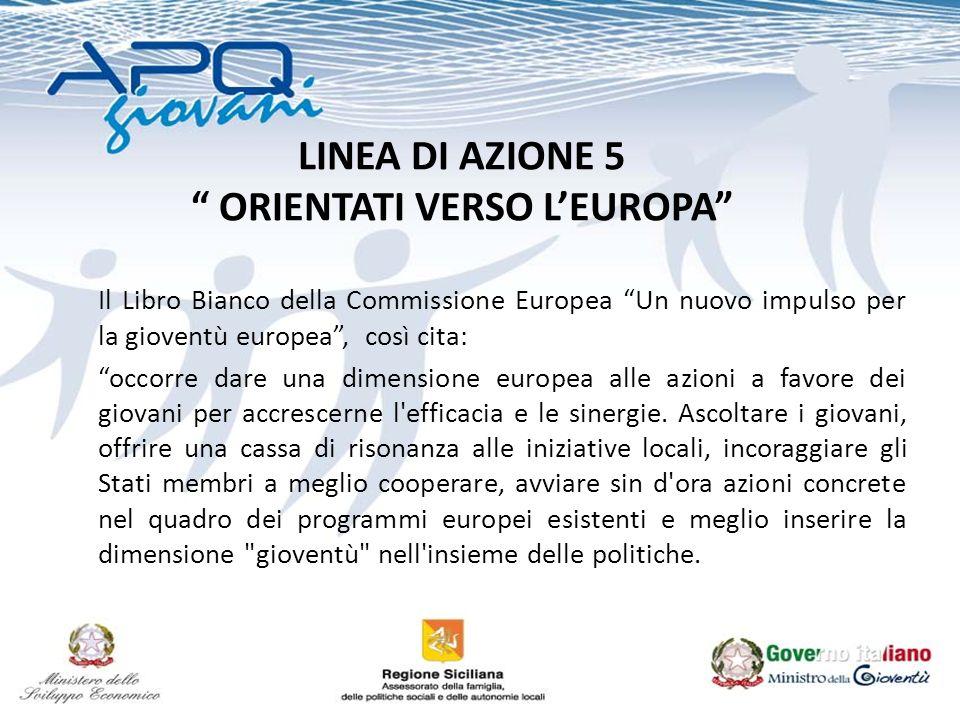 LINEA DI AZIONE 5 ORIENTATI VERSO LEUROPA Il Libro Bianco della Commissione Europea Un nuovo impulso per la gioventù europea, così cita: occorre dare una dimensione europea alle azioni a favore dei giovani per accrescerne l efficacia e le sinergie.